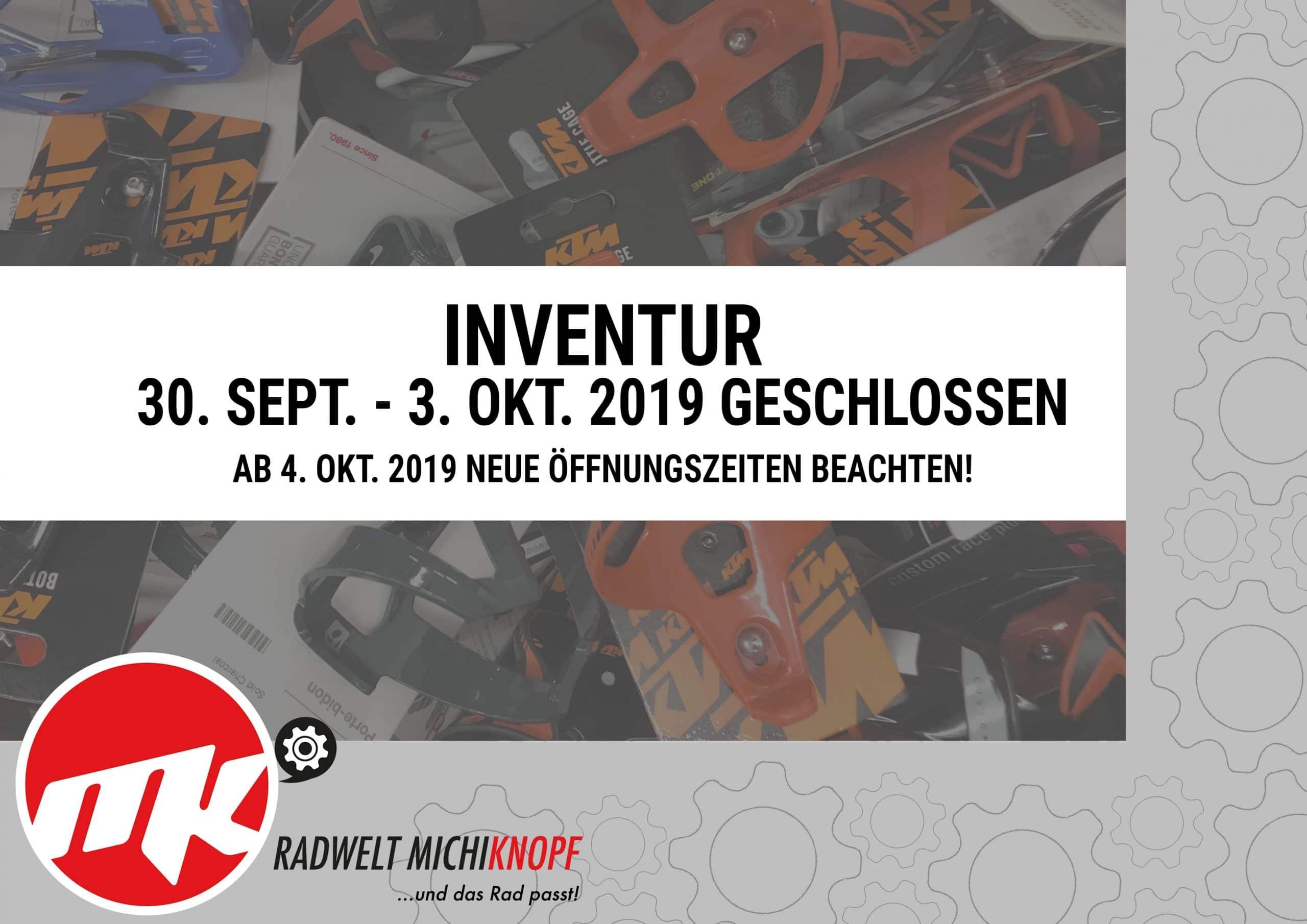 Inventur von 30. Sept. - 4. Okt. 2019