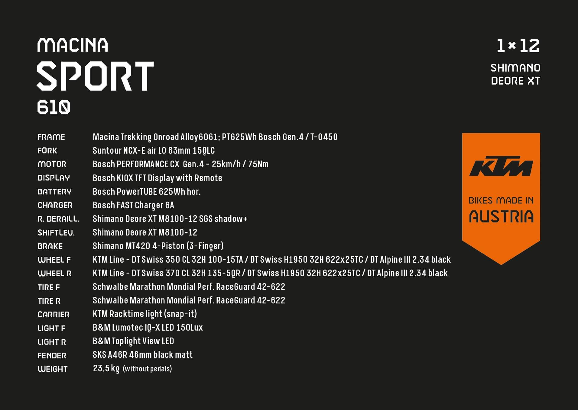 KTM Macina Sport 610 Spezifikationen