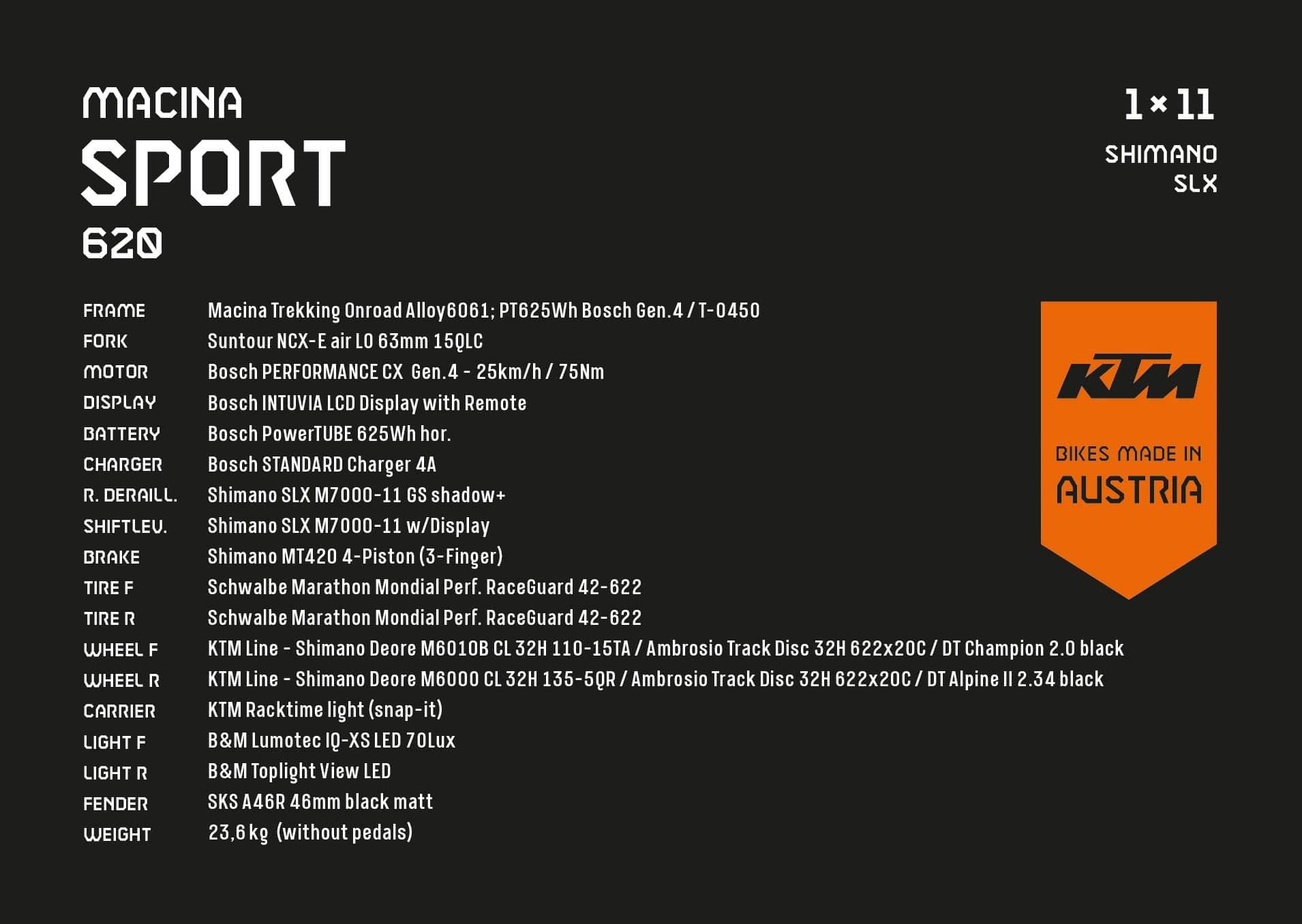 KTM Macina Sport 620 Spezifikationen