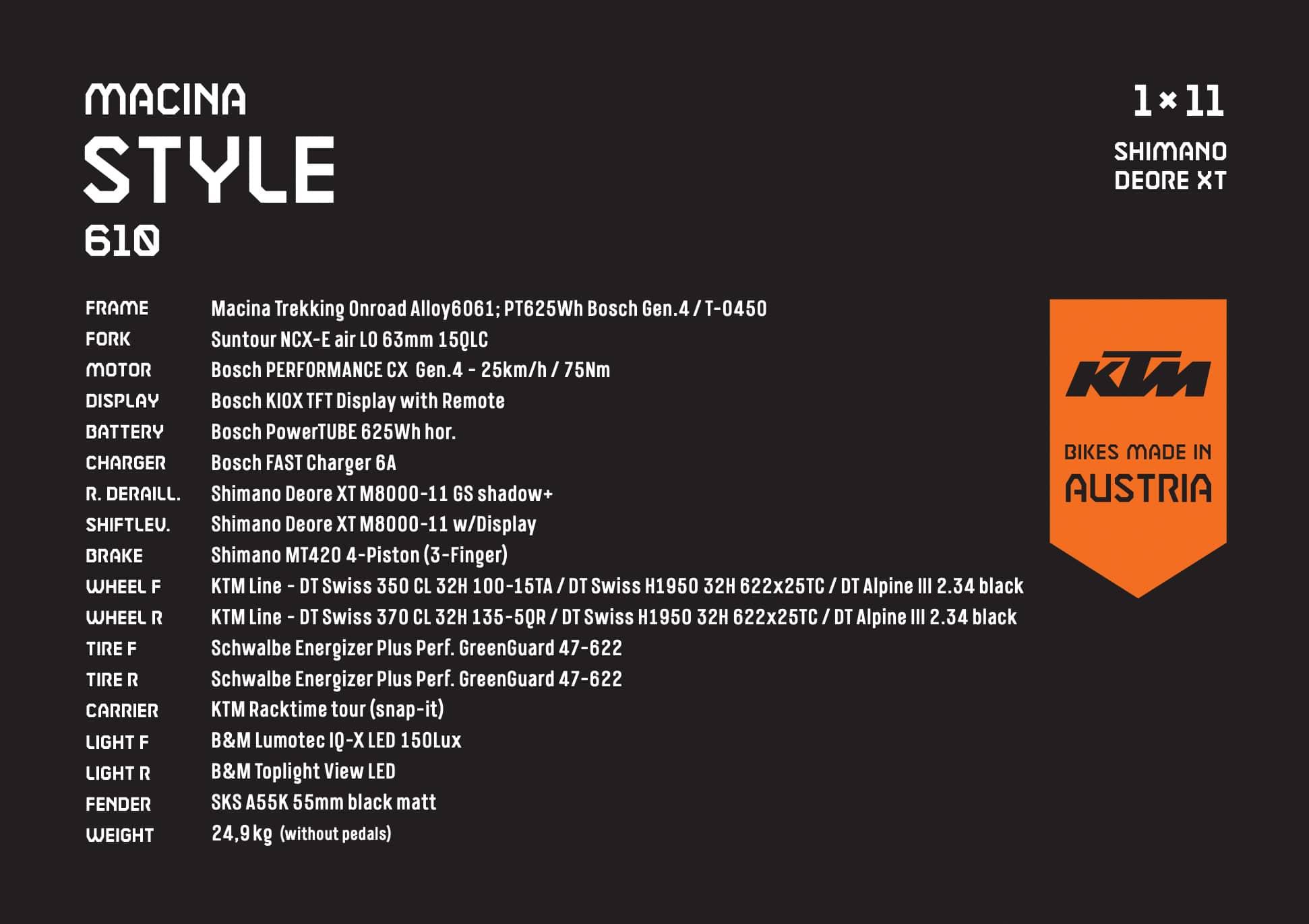 KTM Macina Style Spezifikationen