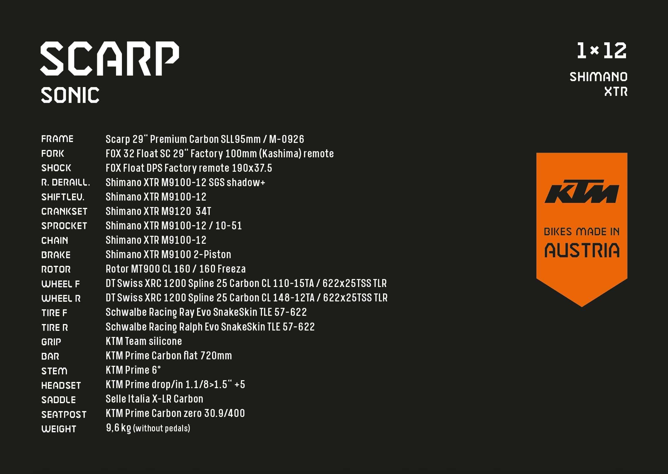 KTM Scarp Sonic - Alle Details aufgelistet