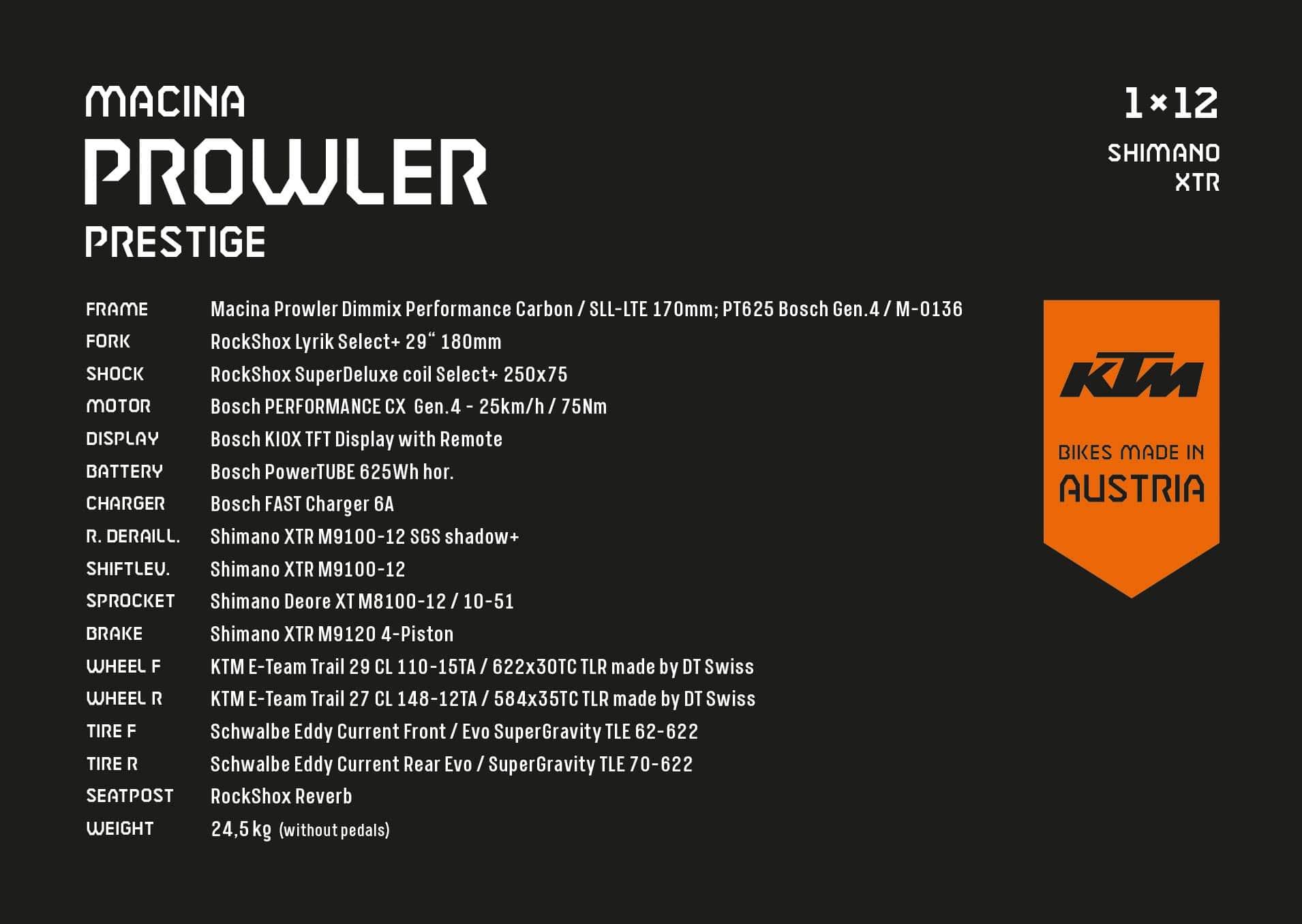 KTM Macina Prowler Prestige Spezifikationen